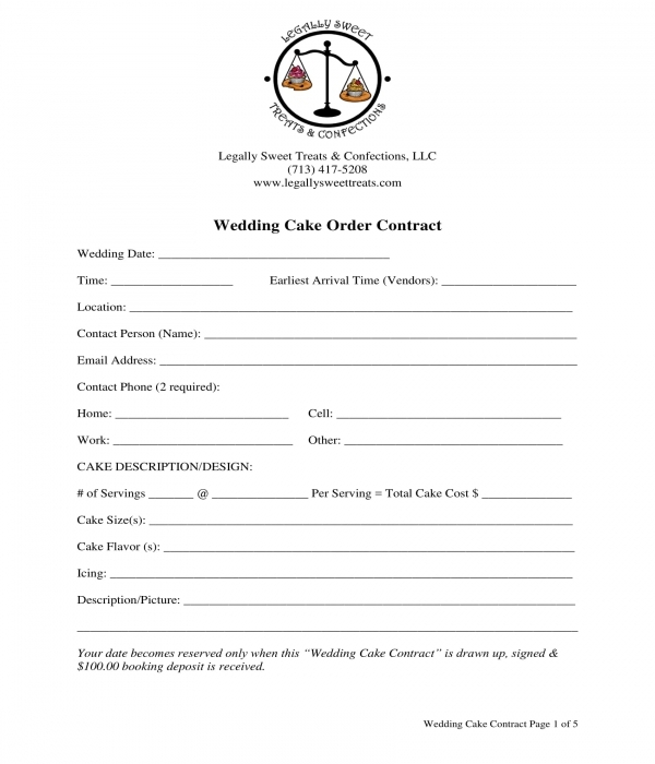 wedding cake order contract form