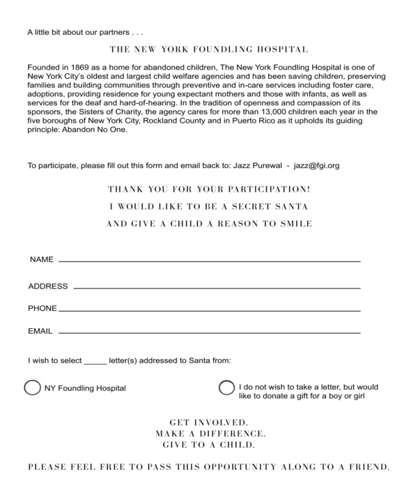 work charity secret santa form