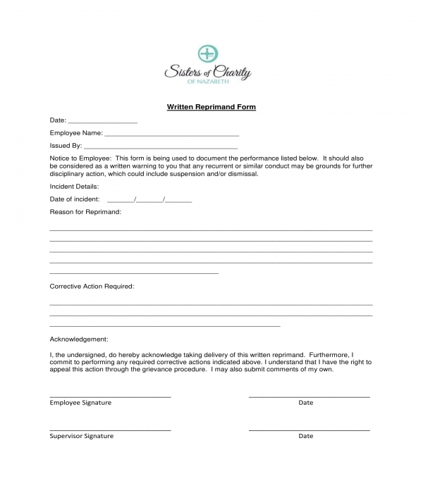 written reprimand form sample