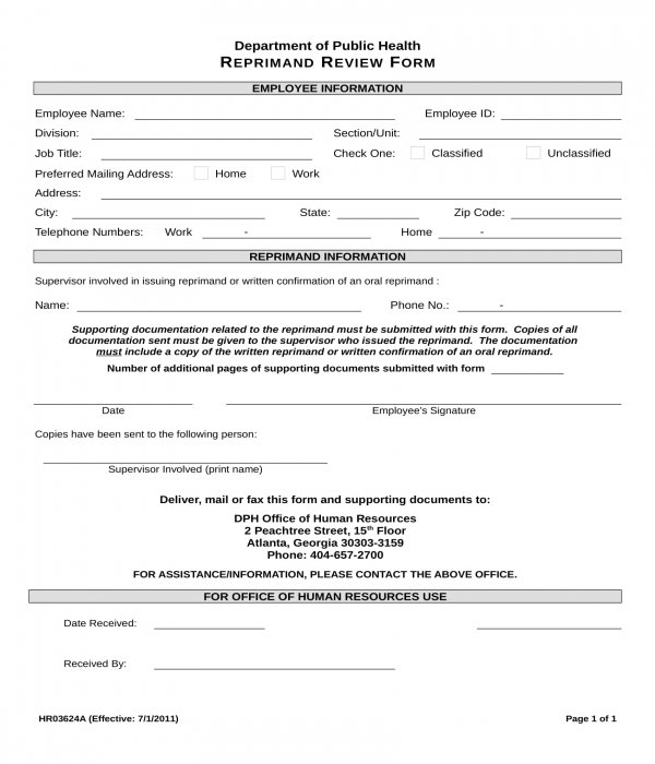 written reprimand review form