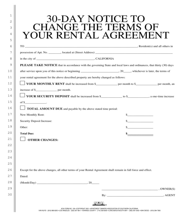 30 day rental agreement terms change notice form