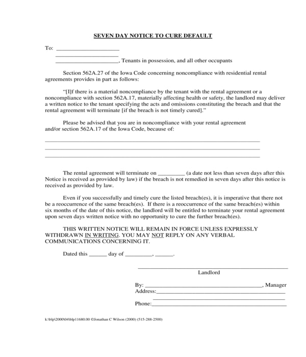 7 day notice to cure default form