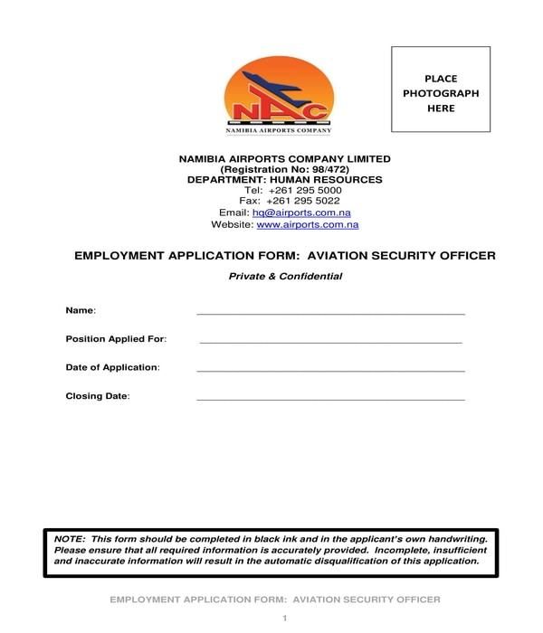 aviation security officer employment application form