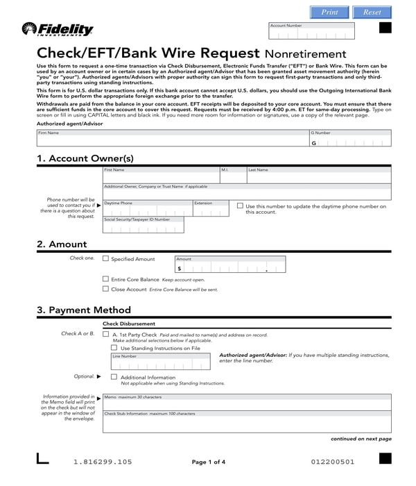 bank wire request nonretirement form