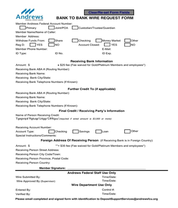 bank to bank wire request form