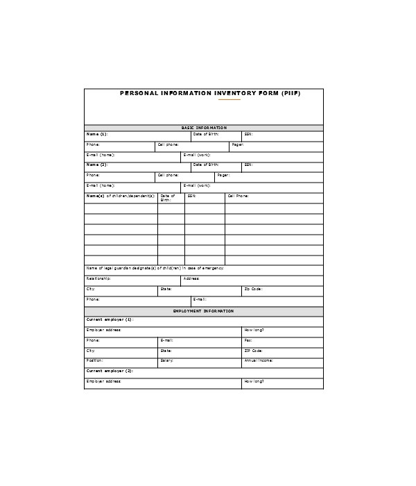 basic personal inventory information form