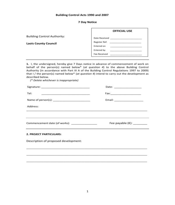 building development 7 day notice form