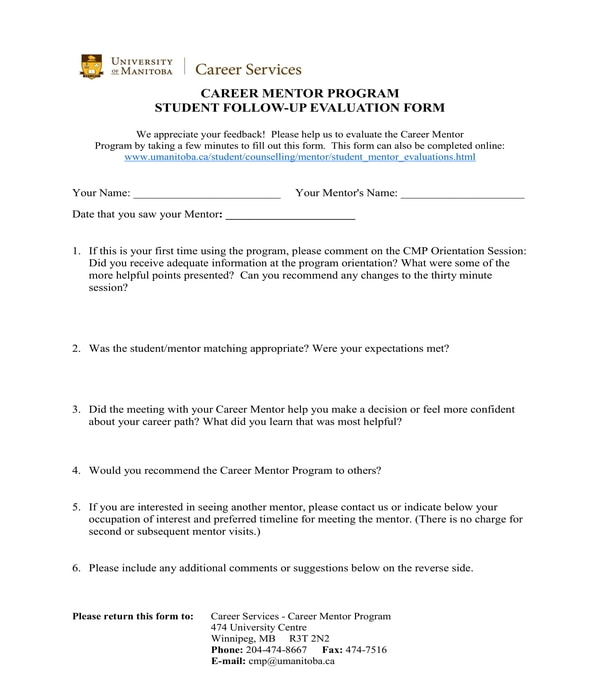 career counseling student followup evaluation form