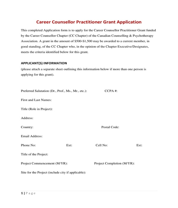 career counsellor practitioner grant application form
