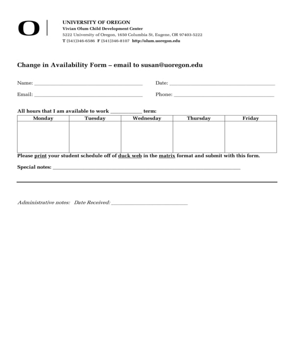 change work availability form