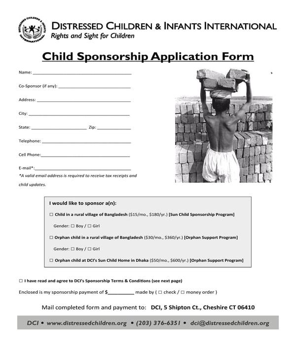 child sponsorship application form
