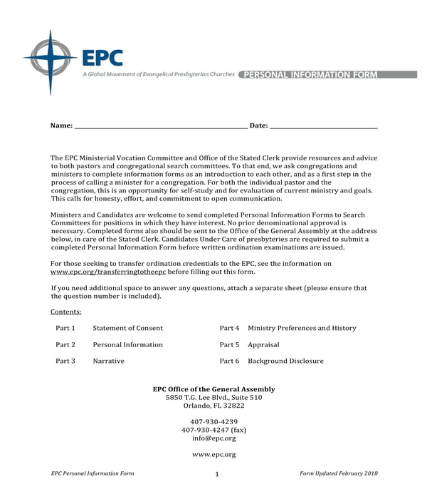 church member personal information form