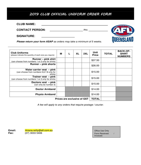 free 12  uniform order forms in pdf