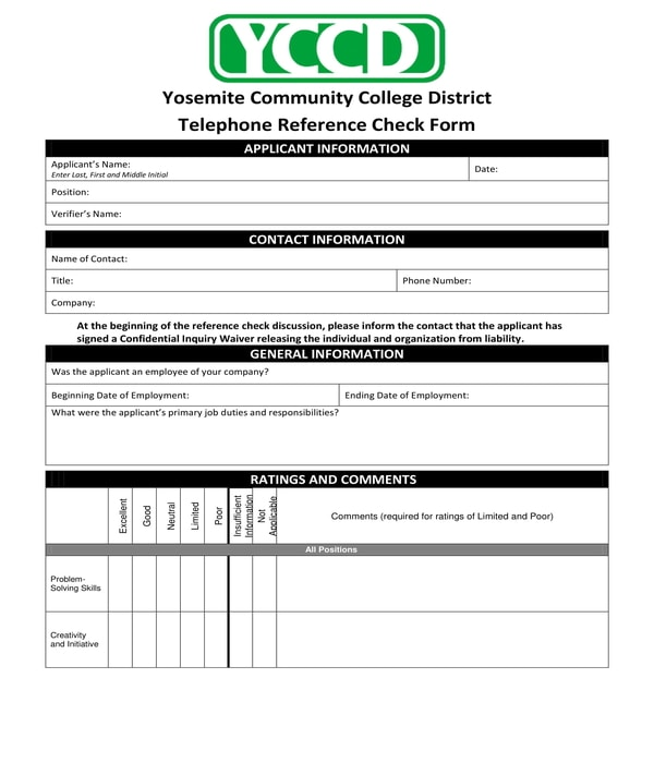 college telephone reference check form