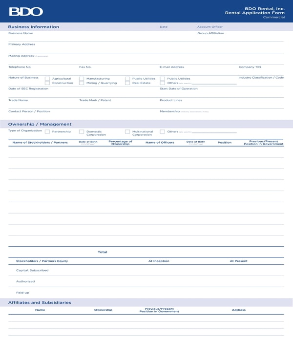 commercial rental application form