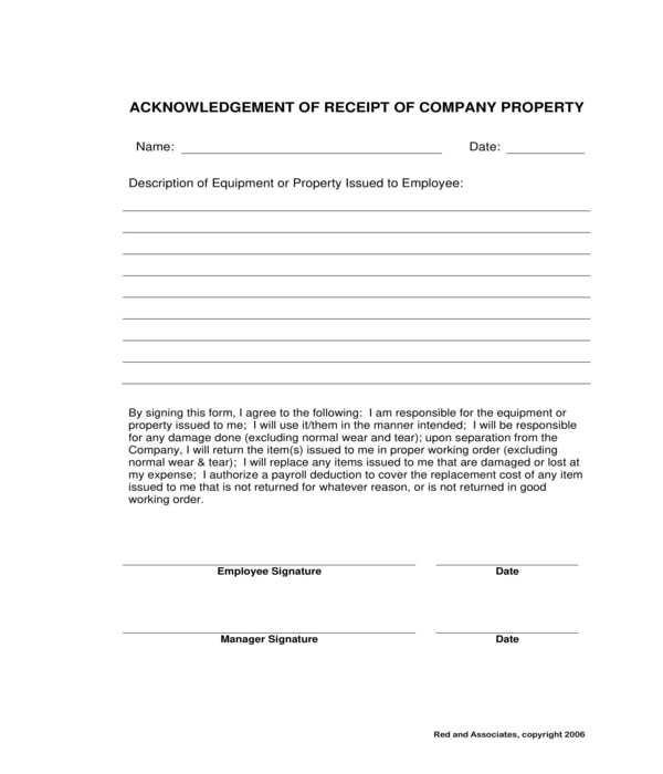 company property acknowledgment receipt form