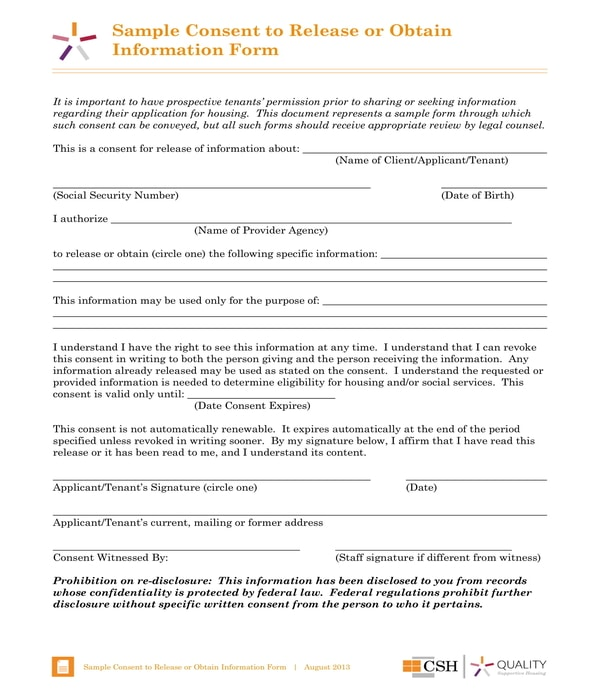 consent to release information form