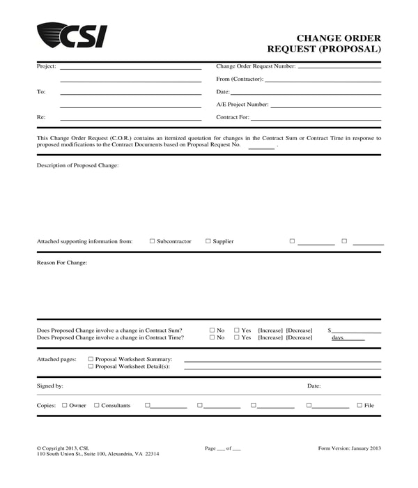 construction change order request proposal form