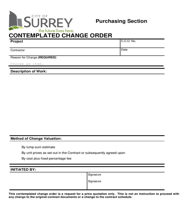construction contemplated change order form