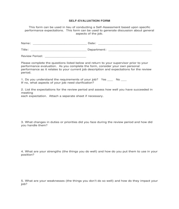 construction employee self evaluation form