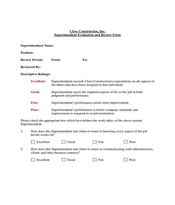 construction superintendent evaluation review form