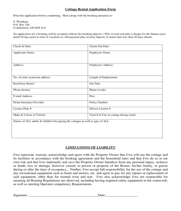 cottage rental application form