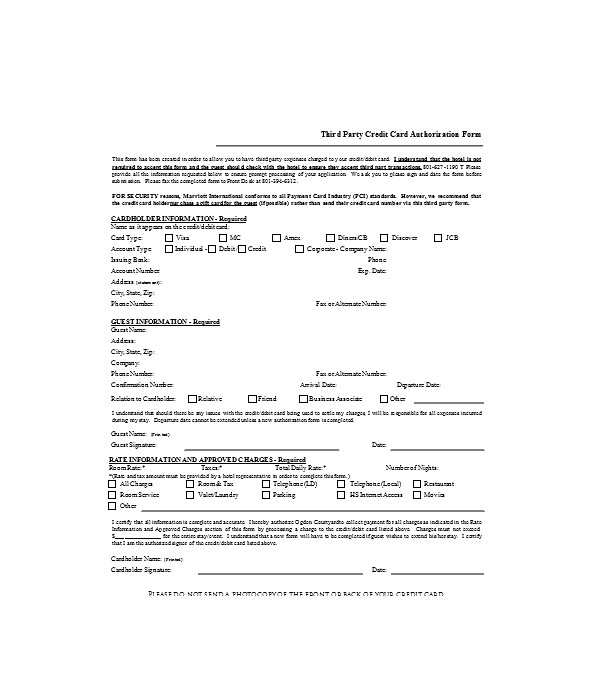 credit card third party authorization form
