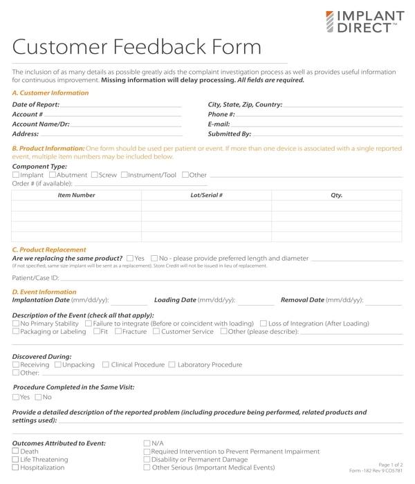 customer feedback form sample
