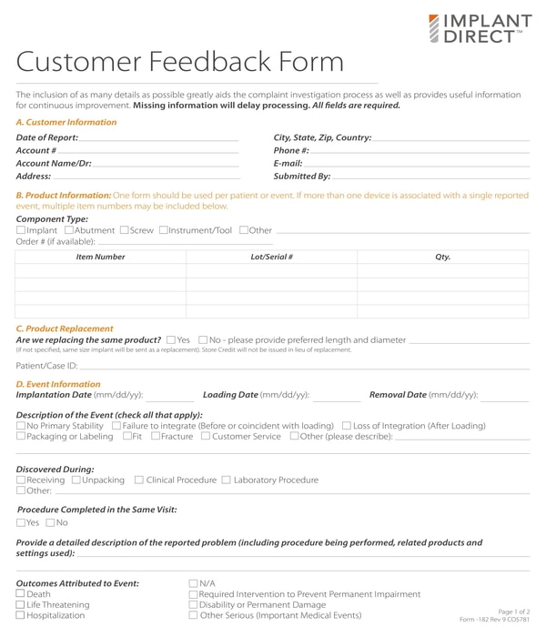 6+ Customer Feedback Form Templates - PDF, DOC