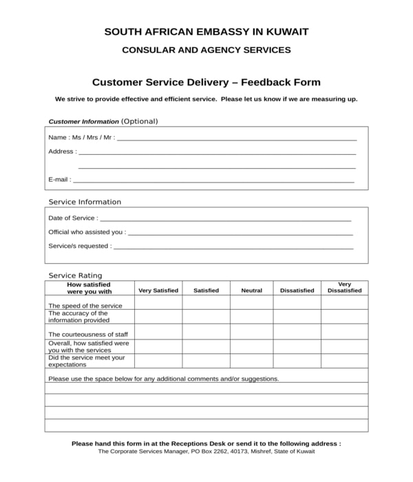 customer service delivery feedback form in doc