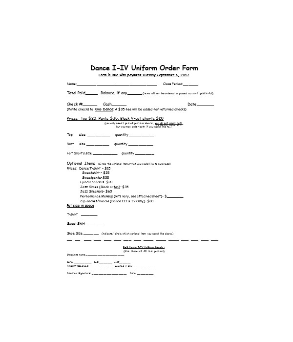 dance uniform order form1