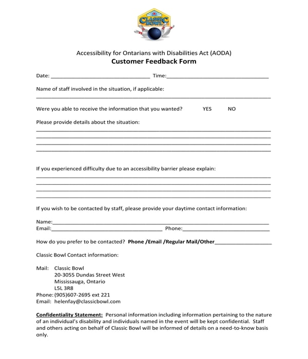 disabled customer feedback form