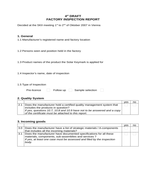 factory inspection report form