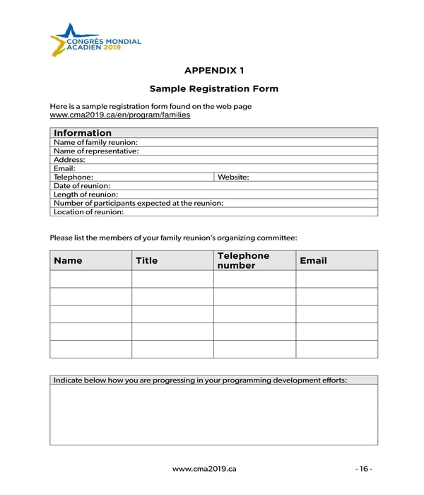 family reunion event registration form