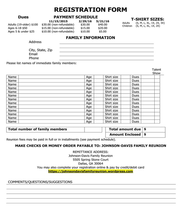 family reunion registration form sample