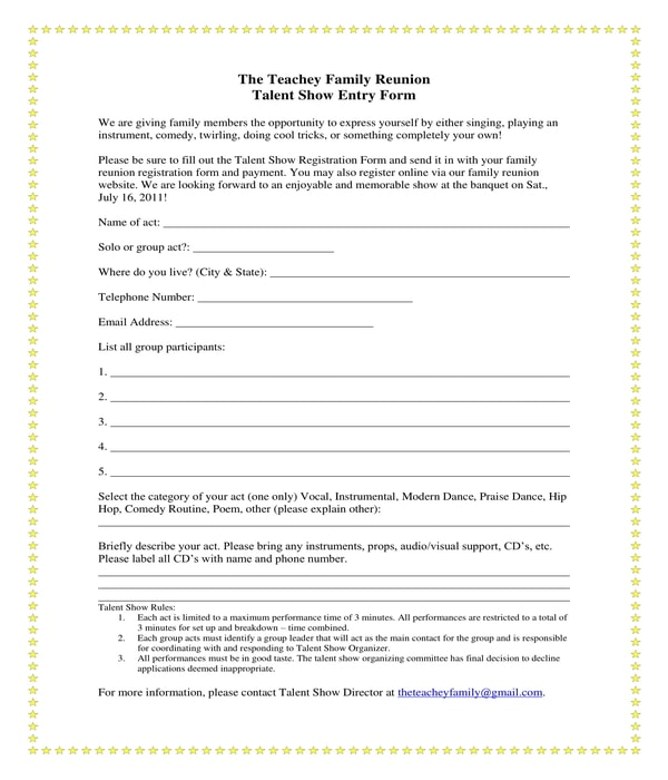 family reunion talent show registration form