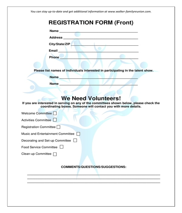 family reunion volunteer registration form