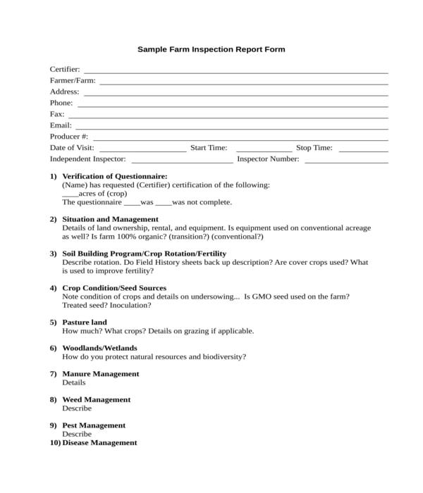 farm inspection report form
