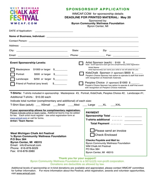 festival sponsorship application form