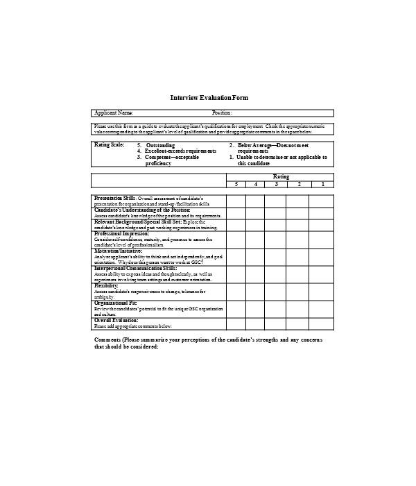 general candidate evaluation form
