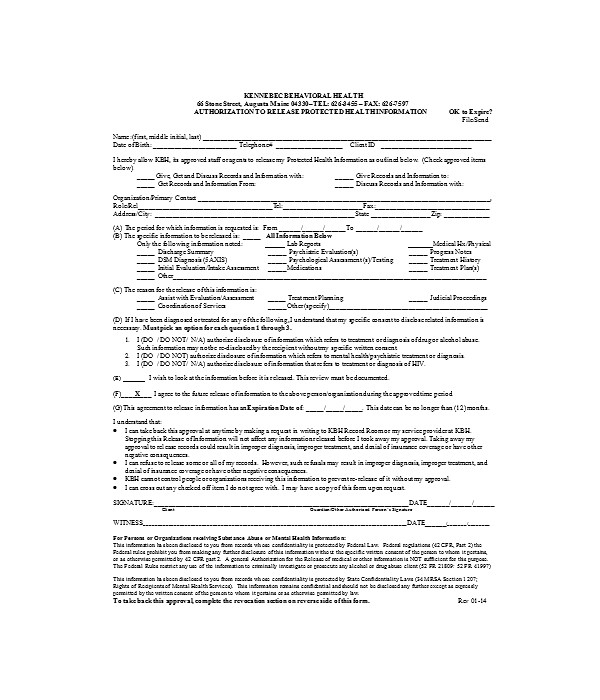 general release of authorization information form
