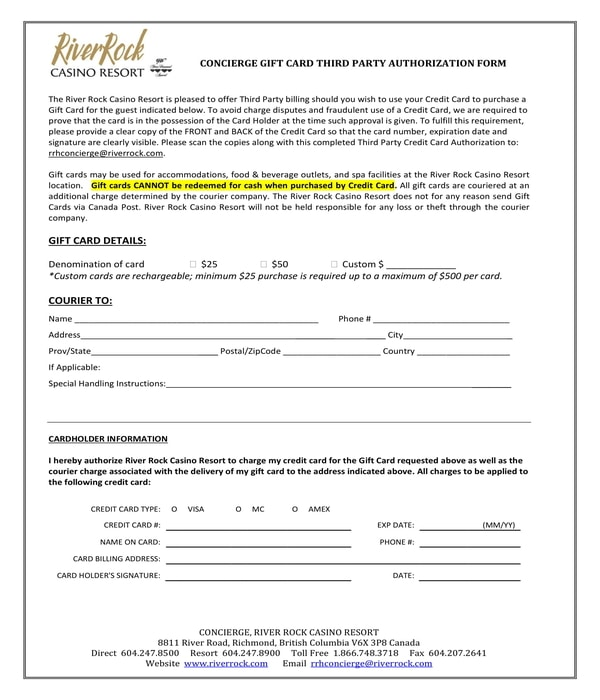 gift card third party authorization form