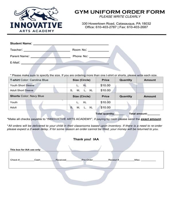 gym uniform order form