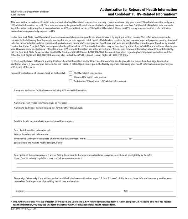 hiv release of information form