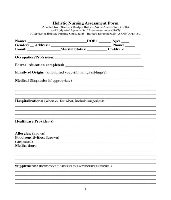 holistic nursing assessment form