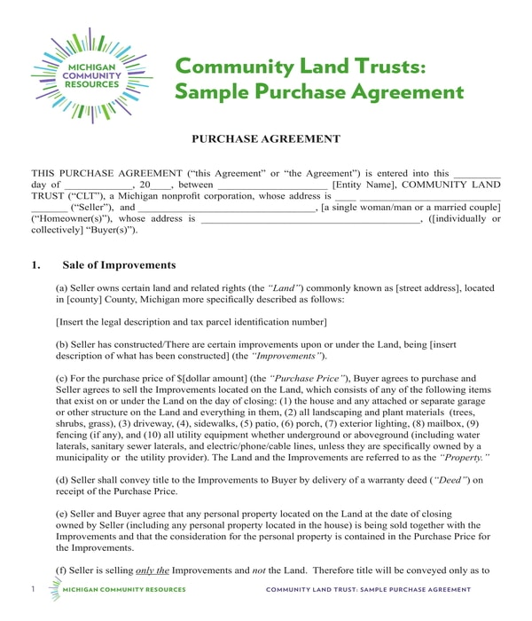 land improvement purchase agreement form