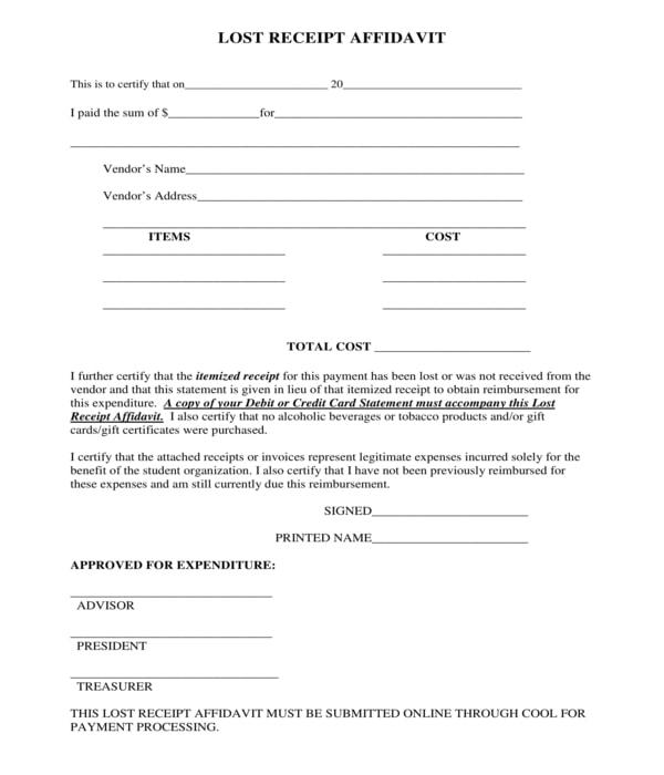 lost receipt affidavit form