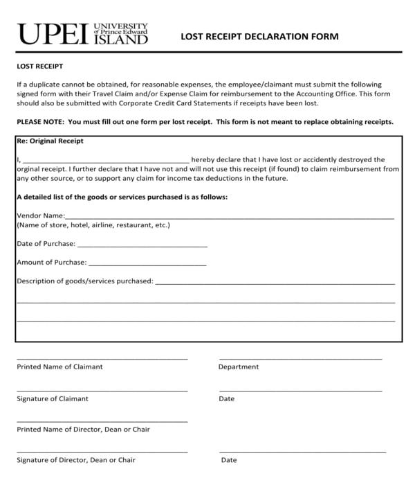 lost receipt declaration form