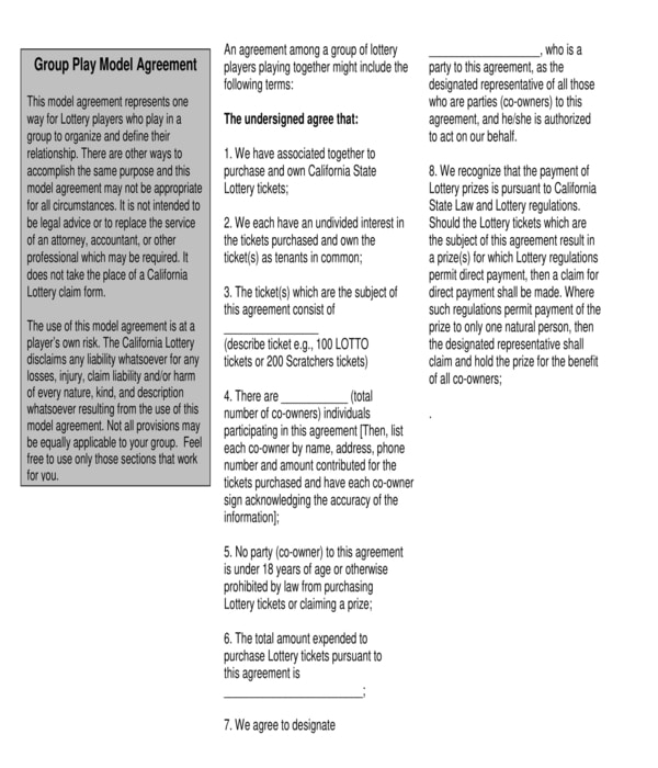 lottery group play model agreement form