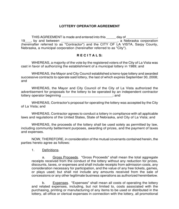 lottery operator agreement form